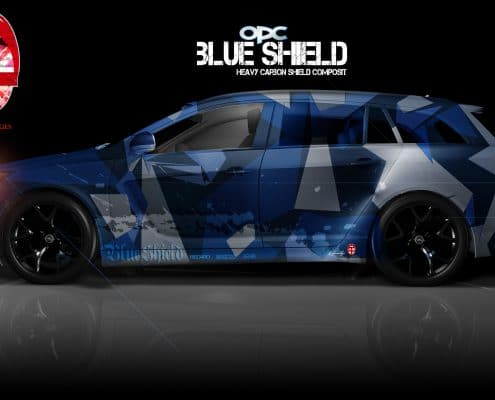 London Junkies OPC Autofolierung Design Blue Shield